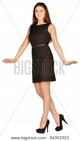 business woman standing arms outstretched to the sides
