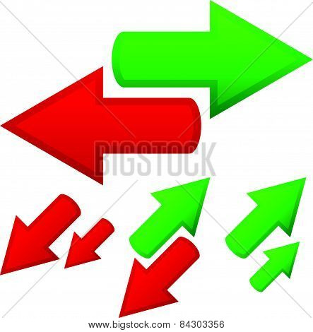 Illustration Of Conceptual Arrows. Opposite Directions, Growth, Upward, Downward Trends, Finance, Di