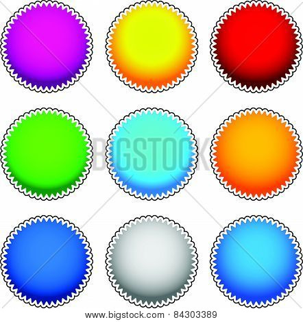 Colorful Starburst, Flash, Badge Set. Vector Graphics