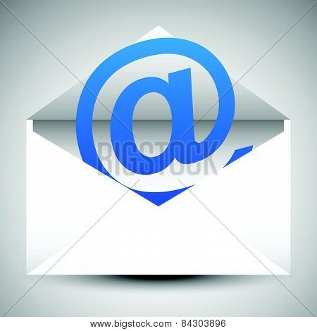 Envelope With At Symbol. Email, Letter, Correspondance, Support Concepts