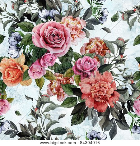 Seamless Floral Pattern With Red And Pink Roses And Peonies