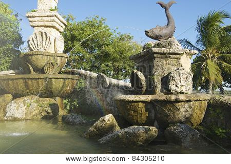 Exterior detail of the fountain in Altos de Chavon village in La Romana, Domini