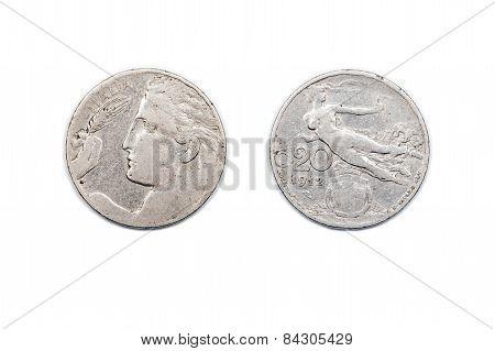 Twenty Centesimo Coin from Italy dated 1920