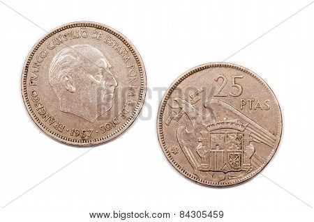Twenty five Pesetas coin from Spain dated 1957