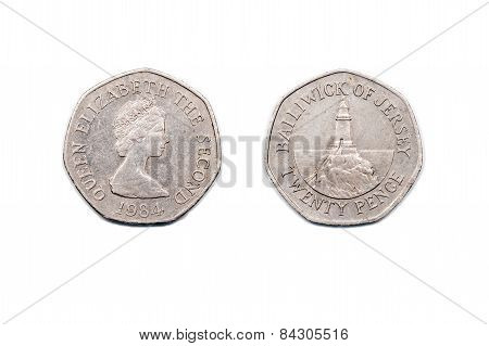 Twenty Pence coin from Jersey dated 1984