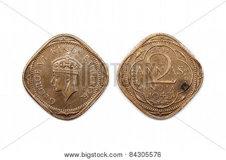 Two Annas coin from India dated 1943
