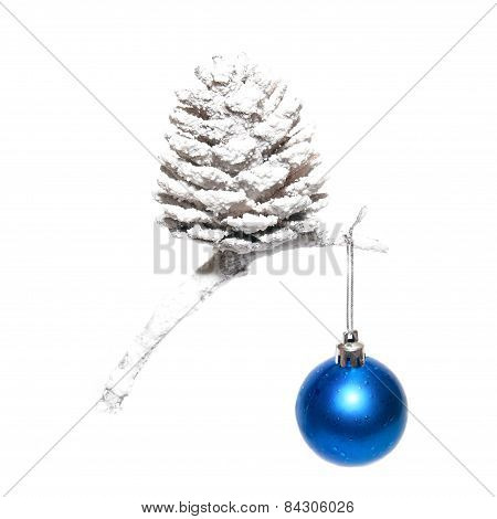 Christmas Snow Cone With Blue Bauble.
