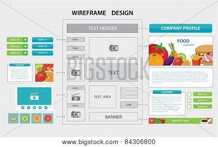 Flat Website Wireframe Template