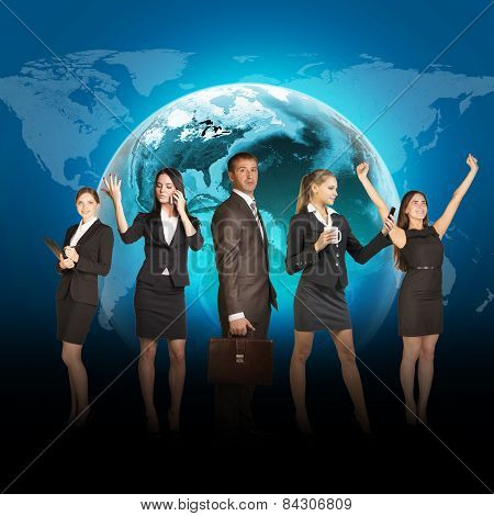 Business people in suits standing on background of Earth