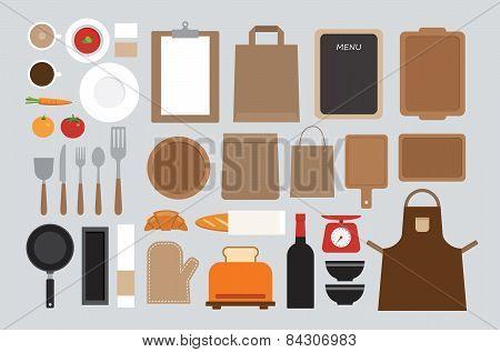 Set Of Mock Up Kitchen Tool Flat Design
