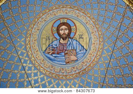 St Petersburg, Russia - September 28, 2014: The Painting On The Dome Of The Cathedral Of The Sea Nik