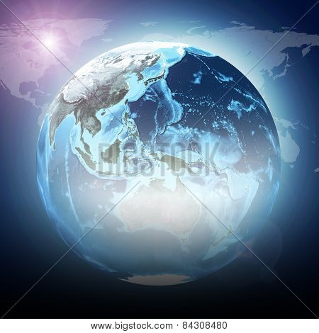 Blue earth globe glow with continents, transparent. World map on dark background