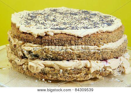 Sponge cake with poppy