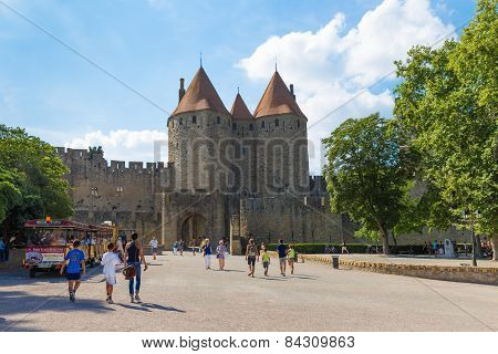 Tourists Visiting Medieval Fortress Cite De Carcassonne