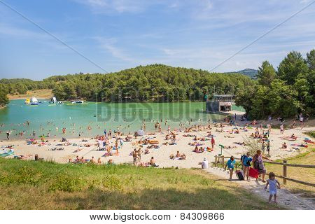 Lac De La Cavayere Is An Artificial Lake With Beaches