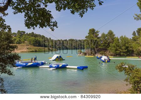 Inflatable Water Playground At Lac De La Cavayere