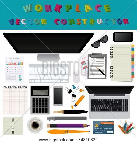 Working place in flat design. Constructor of your own work space
