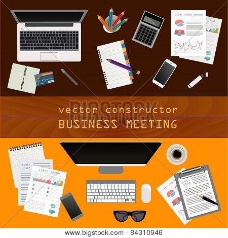 Business meeting. Working place in flat design. Constructor of your own work space