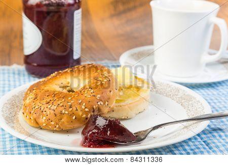 Breakfast Bagel With Fruit Spread