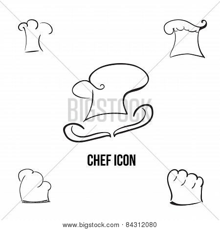 Vector han-drawn stylish chef icon with additional cook hats. EPS10
