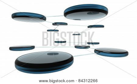 3d render of abstract network on white background