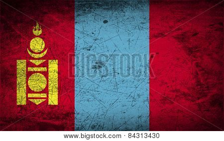 Flag Of Mongolia With Old Texture. Vector
