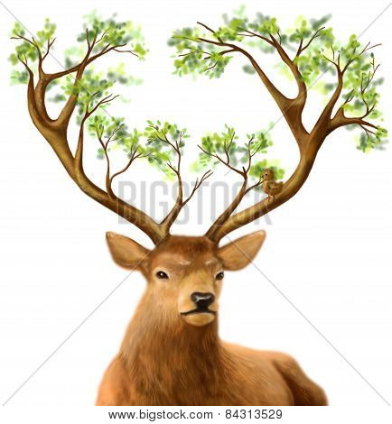 Fantasy  Kind deer with tree horns