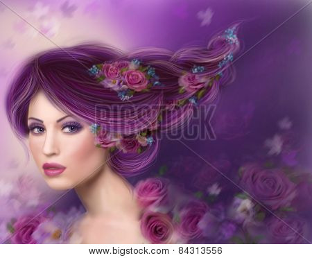 Fantasy woman with beautiful purple hair and flowers roses