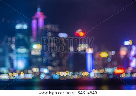 Hongkong Skyline at Night- Blurred Photo bokeh