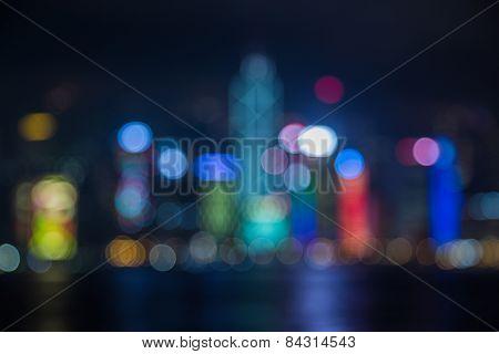 Hongkong city light, blur bokeh light effect