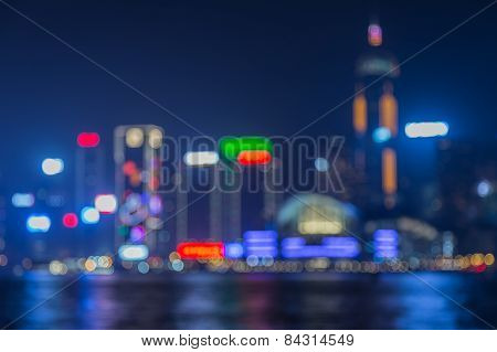 Blurred city lights bokeh cityscape