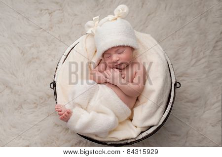 Sleeping Baby Girl In Bucket