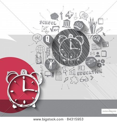 Paper and hand drawn alarm clock emblem with icons background
