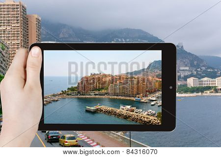 Travel Concept - Tourist Taking Photo Of Monaco City