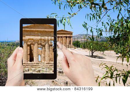 Tourist Taking Photo Ancient Temple Of Concordia