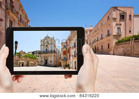Tourist Taking Photo Of Medieval Episcopal Palace