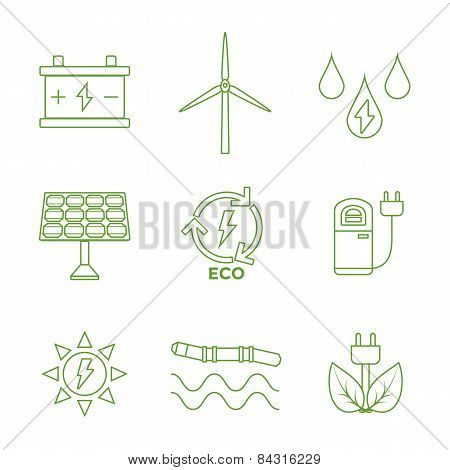 green outline recycle ecology energy icons