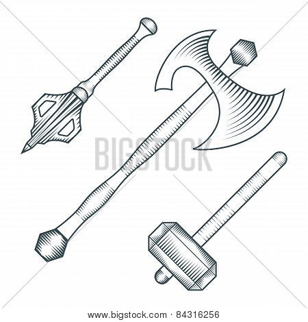 medieval axe warhammer mace engraving style illustration