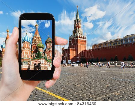 Tourist Taking Photo Of Red Square In Moscow