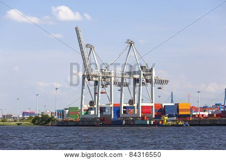 Small Container Terminal In Hamburg, Germany