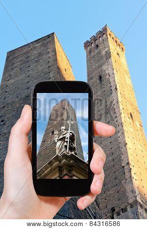 Tourist Taking Photo Of Saint Petronius Statue