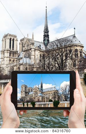 Taking Photo Of Cathedral Notre-dame De Paris