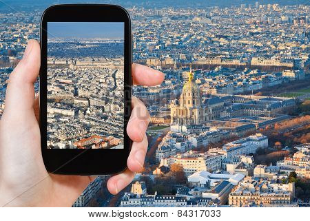 Tourist Taking Photo Of Paris Panorama