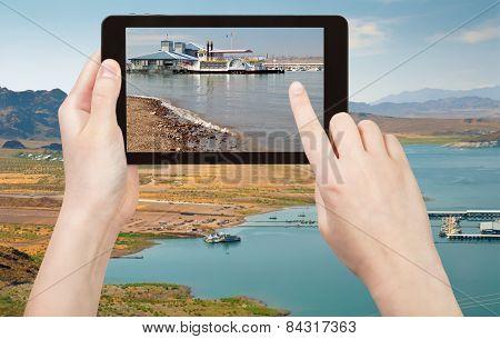 Tourist Taking Photo Recreation Area On Lake Mead