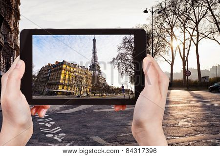 Tourist Taking Photo Of Quay Branly In Paris