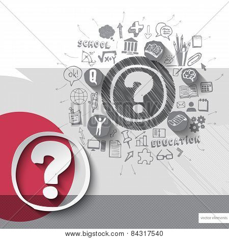 Paper and hand drawn question mark emblem with icons background