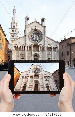 Tourist Taking Photo Of Modena Cathedral