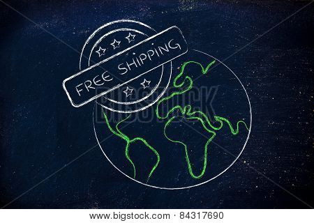 Planet Earth With A 5 Stars Stamp About Free Shipping
