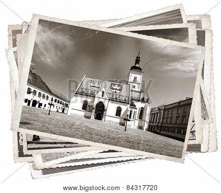 Vintage Photo St. Mark' Church Zagreb