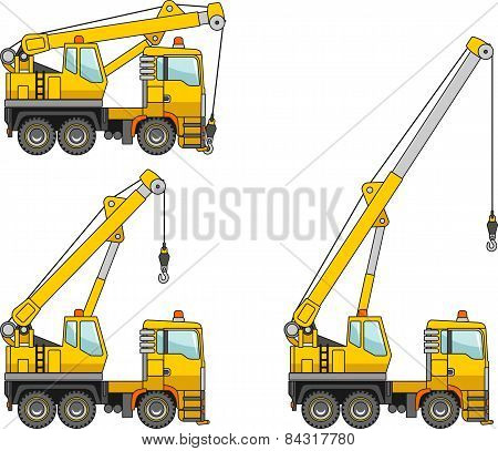 Cranes. Heavy Construction Machines. Vector Illustration